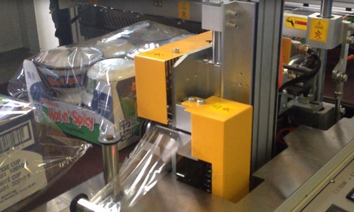 方便面热收缩机 食品行业桶面使用外膜热收缩机案例